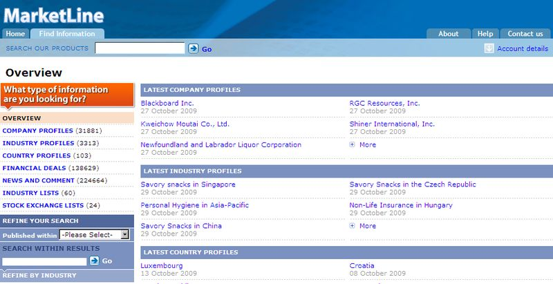 MarketLine - screen shot of search results list