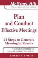 Plan and conduct effective meetings