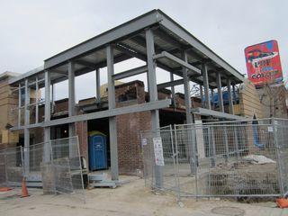 April 2, 2012 steel structure above entrance