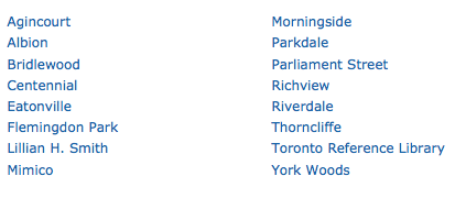 LSP locations at Toronto Public Library
