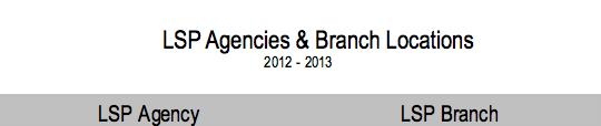 LSP Agencies & Branch Locations