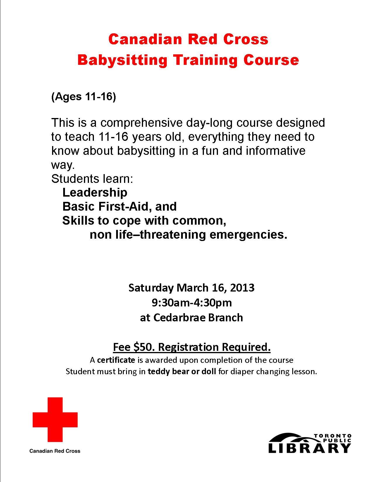tpl teens break cedarbrae canadian red cross red cross babysitting course 1