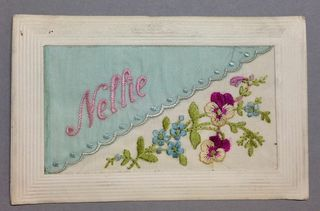 Nellie WWI silk postcard blue diagonal overlay