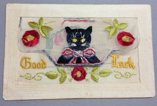 Good luck black cat WW1 silk postcard with closed envelope
