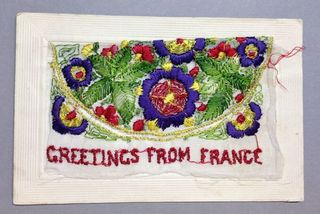 Greetings From France WW1 sillk postcard