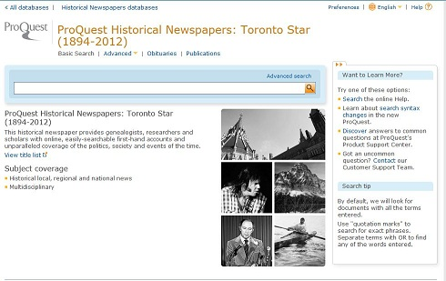 Toronto star basic search