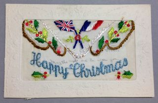 Happy Christmas WW1 silk postcard