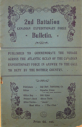 2nd Battalion Canadian Expeditionary Force Bulletin