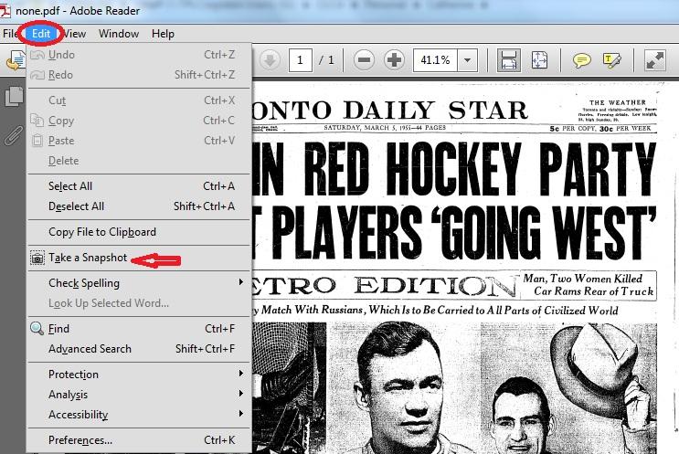 Edit menu take snapshot