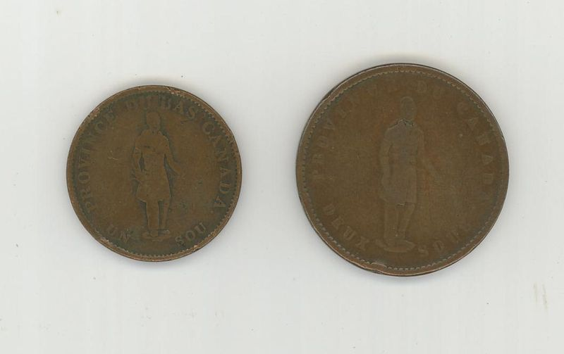 Canadian Tokens 1837 half penny and 1852 one penny habitant side