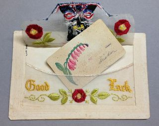 Good luck black cat WW1 silk postcard with opened envelope