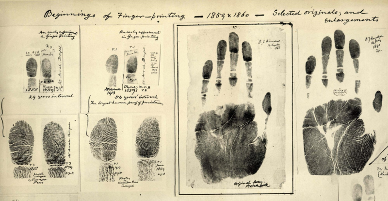 Fingerprints taken by William James Herschel (1859-1860)