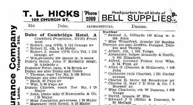 1896 Toronto City Directory-sample
