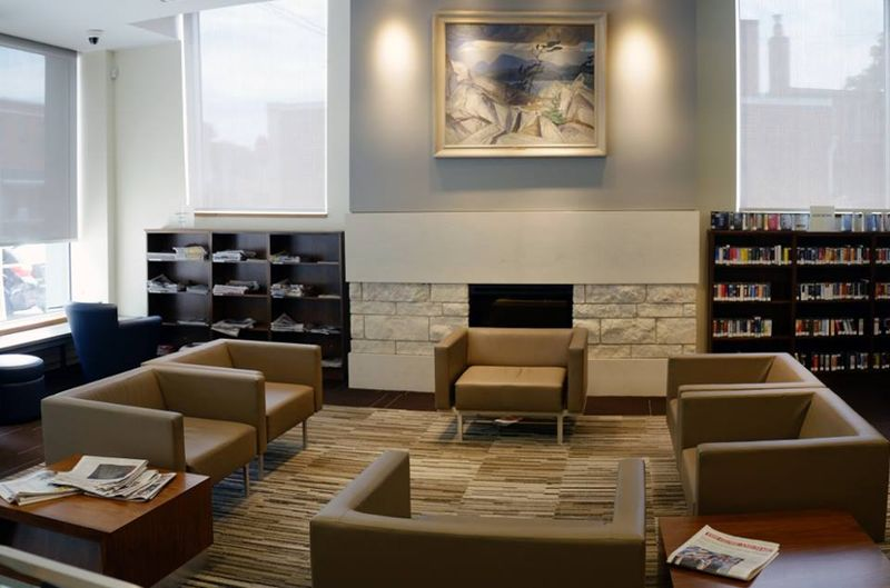 Brentwood Branch Toronto Public Library fireplace photo 2015