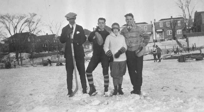 1920s Skating Rink, Eglinton Park, Eglinton Ave. West  between. Edith Drive & Oriole Parkway (looking east to rear of houses on Edith Drive, Roselawn Ave. at left)