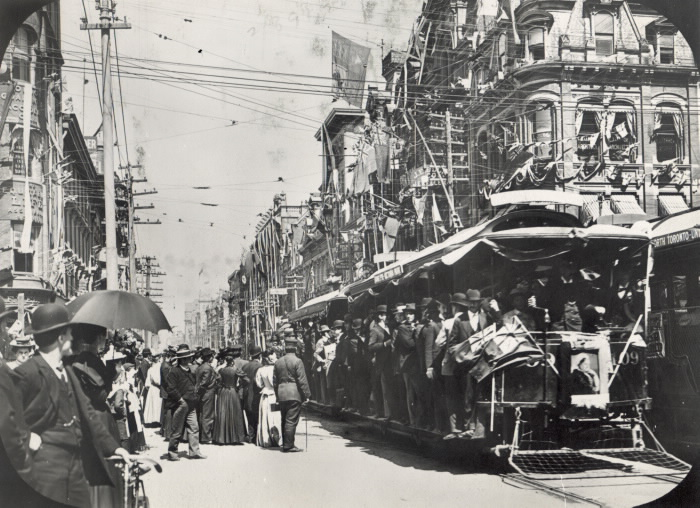 Toronto 1897 Queen Victoria  Decorations For Diamond Jubilee, King St. East  looking east from Yonge St.