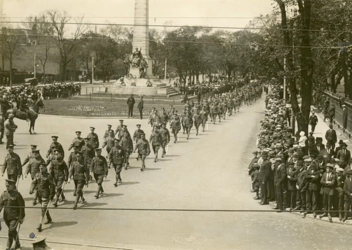 Toronto Quen Victoria  Birthday Parade  1923, military parade, looking north on University Ave. from Queen St. West