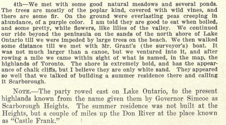 The diary of Mrs John Graves Simcoe reference to Scarborough on August 4 1793