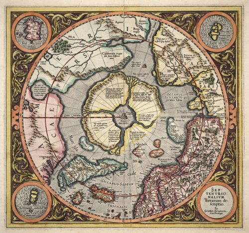 A square map of the North Pole is annotated to show four mountainous islands surrounding a black magnetic rock