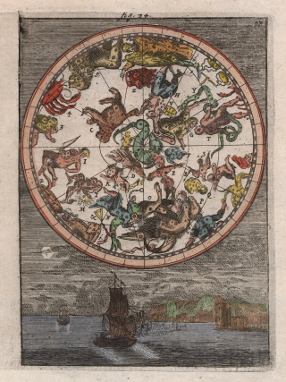 A circular map shows animals and mythological figures representing constellations
