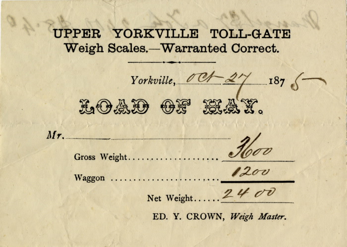 Upper Yorkville toll-gate weigh scales 1875tollgatevs