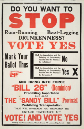 "A broadside with black and red text reads ""Do You Want to Stop Rum-Running, Boot-Legging, Drunkenness?"" and asks for readers to vote yes to Bill 26 (Dominion) and the Sandy Bill (Provincial)"