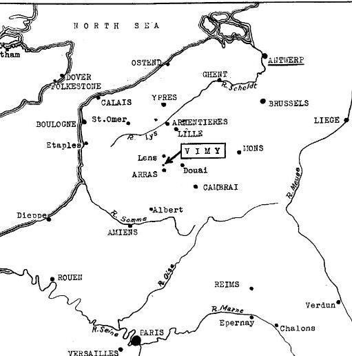 Map showing Vimy