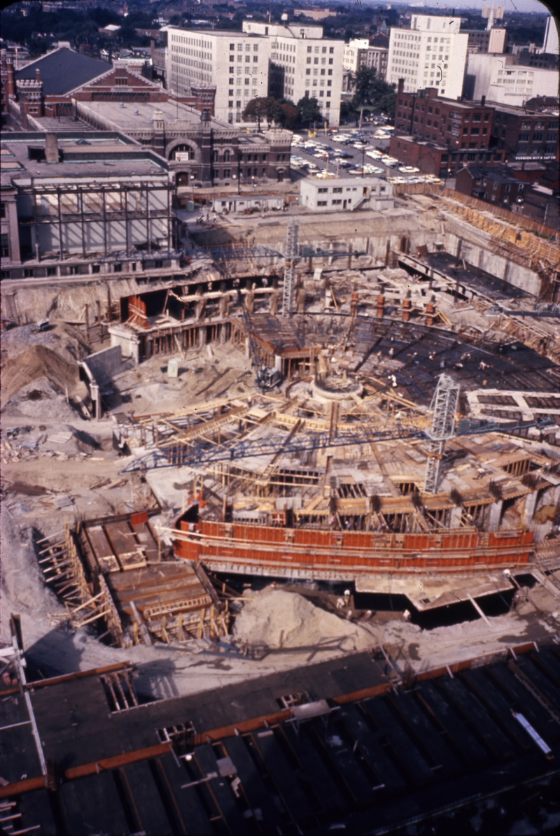 Construction site of new City Hall  ca. 196- photo by Eric Arthur