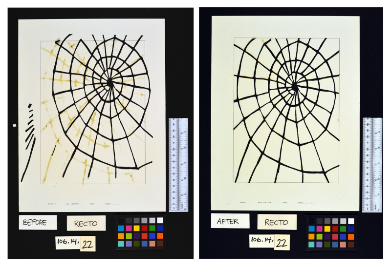 Before and after pictures of a spider web collage being repaired