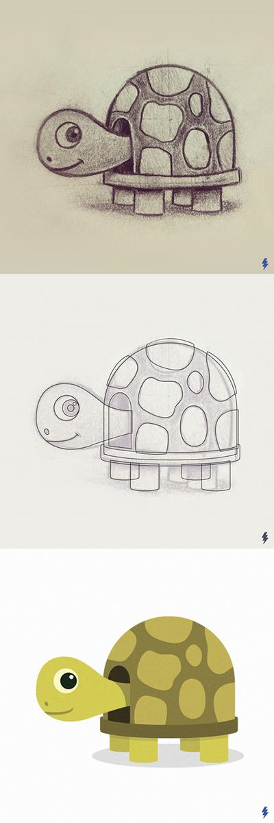 Drawing of a turtle by Jay Wieler