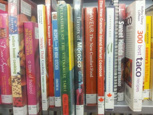 Library books on cooking