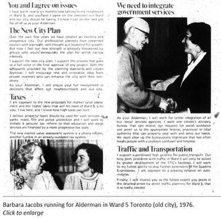 Jacobs Alderman Ward 5 Toronto 1976