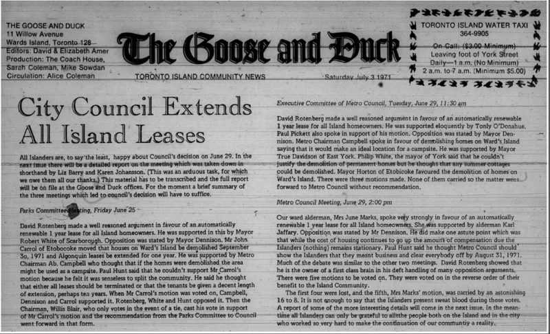The Goose and Duck, 1971