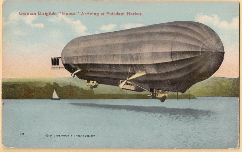 German Dirigible Hansa arriving at Potsdam Harbor by Underwood & Underwood circa 1915