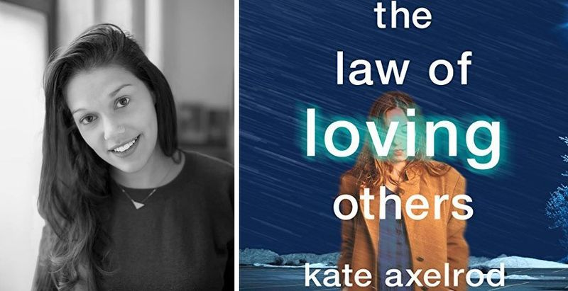 Kate Axelrod with book cover the law of loving others