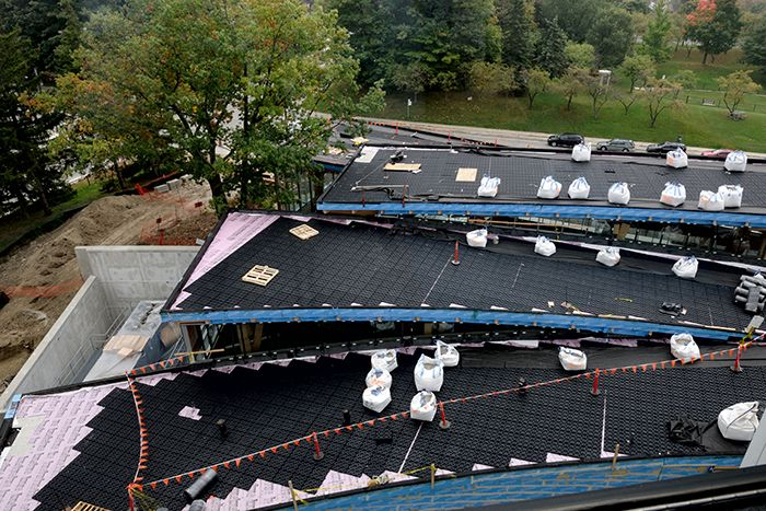 Scarborough Civic Centre Branch Toronto Public Library green roof  in progress