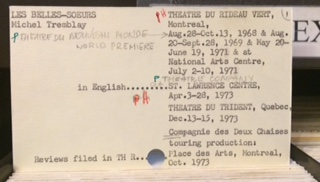 Michel Tremblay index card