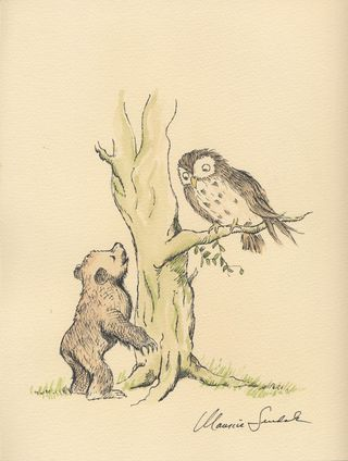 Little Bear with Owl, ink and watercolour