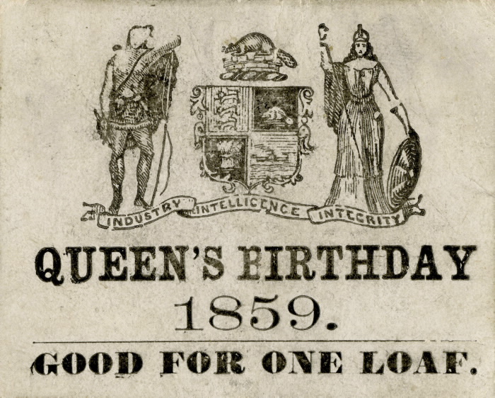1859 Queen's Birthday paper ticket for one free loaf of bread Toronto Ontario