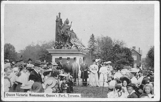 1910 postcard Queen Victoria Monument, Queen's Park, Toronto.