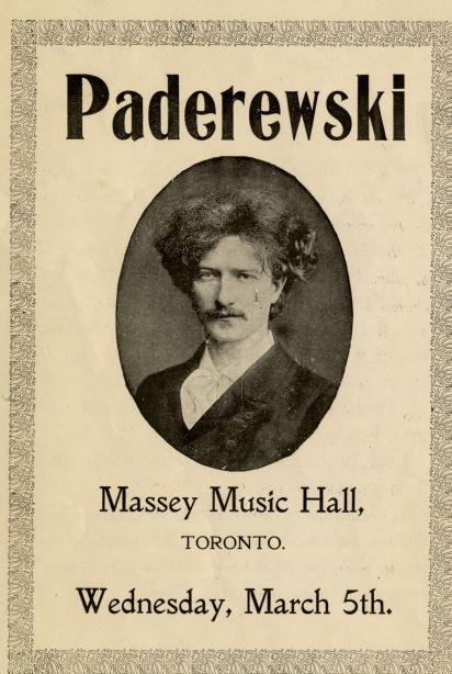 Paderewski, Massey Music Hall, Toronto. Wednesday, March 5th