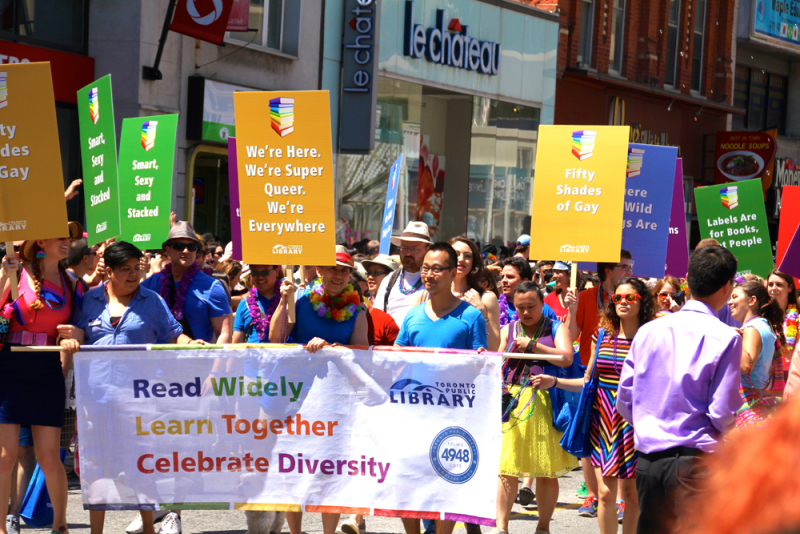 Twoaussiesincanada wordpress 2013 Toronto Public Library march in Pride Parade