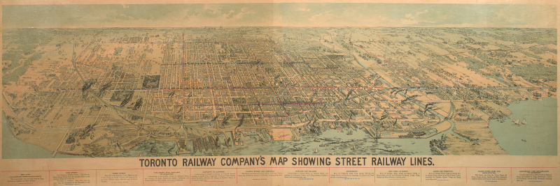 Toronto Railway Company's Map Showing Street Railway Lines 1892