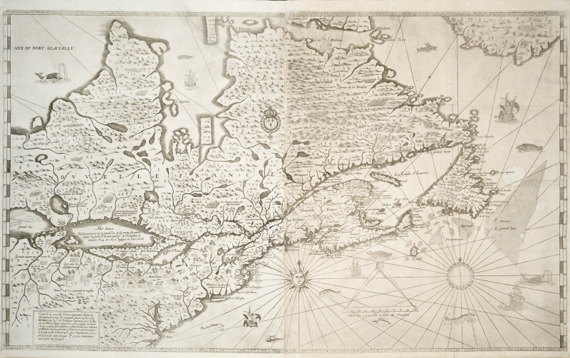 An un-coloured map of New France shows rivers and other geographic features and the Atlantic Ocean is decorated with rhumb lines and illustrations of whales and ships