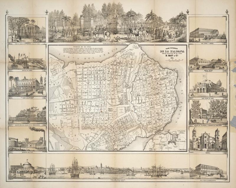 Plano Pintoresco de la Habana con Numeros de las Casas 1853