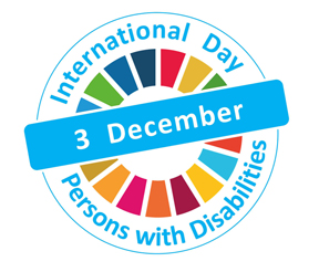 IDPD logo - multicoloured circle with the words International Day Persons with Disabilities 3 December