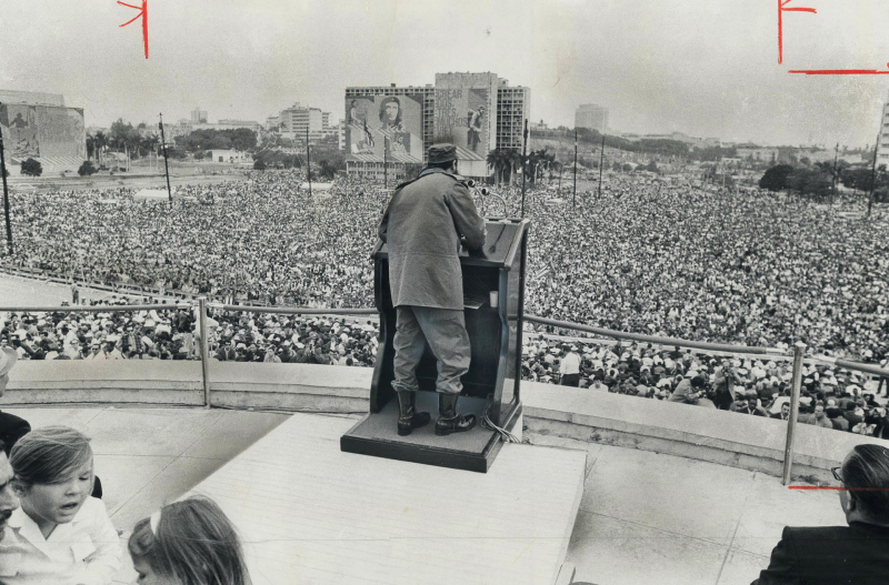 1969 photo of Castro addressing a crowd of 600,000 Cubans in Havana on the 10th anniversary of the revolution.