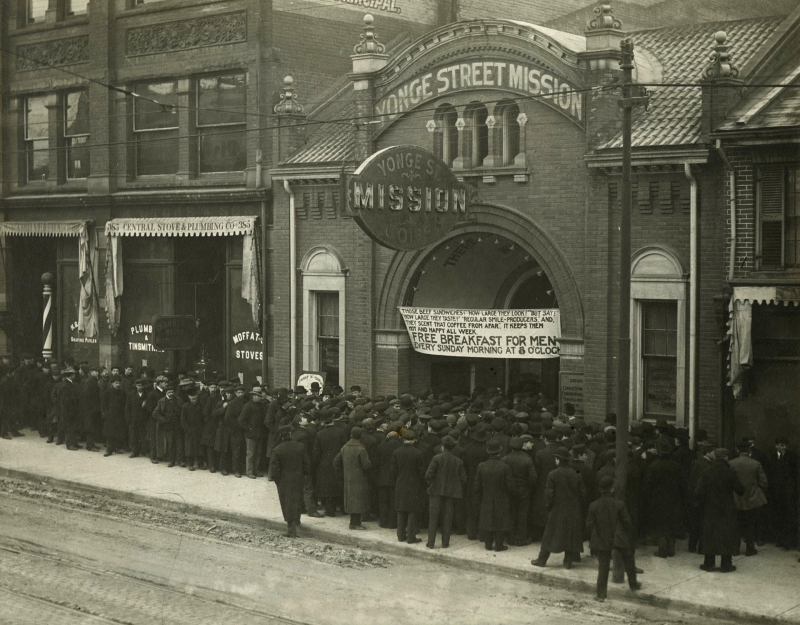 Going into the Mission for Sunday Morning Free Breakfast 1912