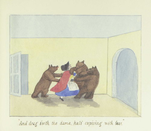"Three bears grab an older woman. Text at bottom reads ""And drag forth the dame, half expiring with fear."""
