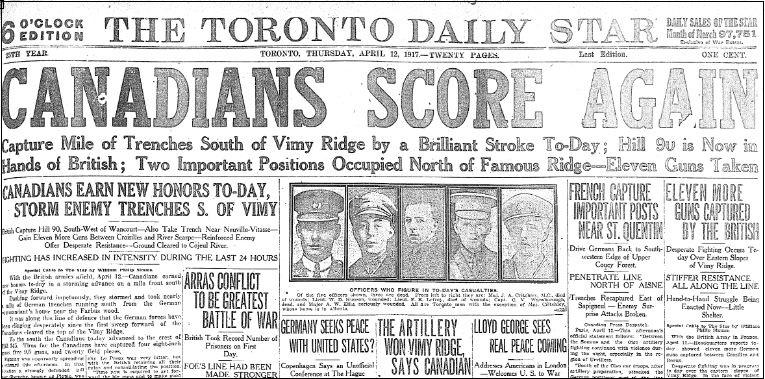 Toronto Star Headline April 12_1917